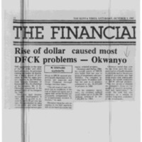 Rise of dollar caused most DFCK problems - Okwanyo