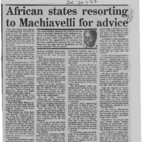 African states resorting toe Machiavelli for advice