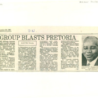 Group blasts Pretoria