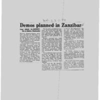 Demos planned in Zanzibar